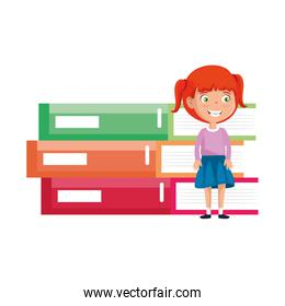 little student girl with pile books character