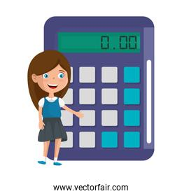 little student girl with calculator math