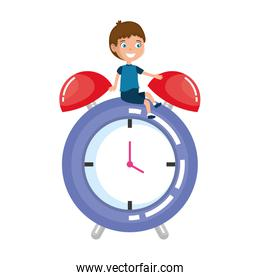 little boy student with alarm clock character