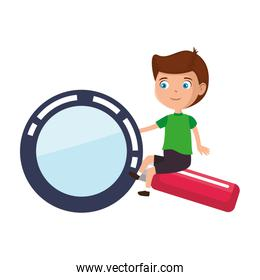 little boy student with magnifying glass