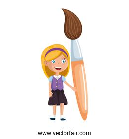 little student girl with paintbrush