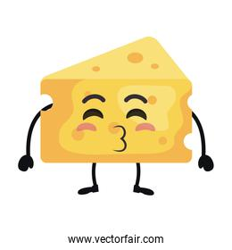 delicious cheese piece kawaii character