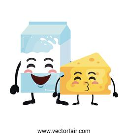 delicious cheese piece and milk box kawaii characters