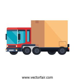 delivery service truck with box carton isolated icon