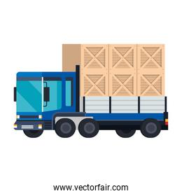 delivery service truck with wooden boxes