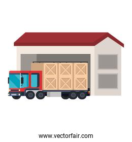 delivery truck with wooden boxes in warehouse