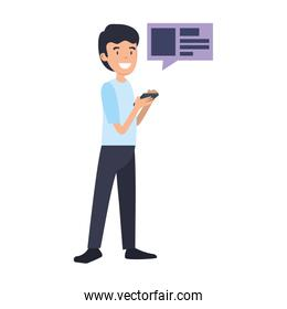businessman using smartphone with speech bubble