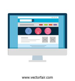 desktop with webpage template isolated icon