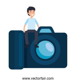 man with photographic camera