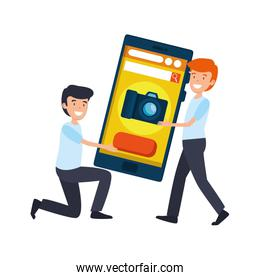 businessmen lifting smartphone characters