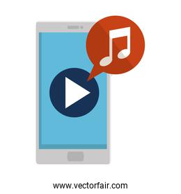 smartphone with media player and music note