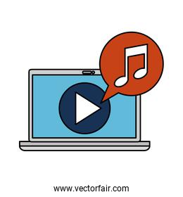 laptop computer with media player and music