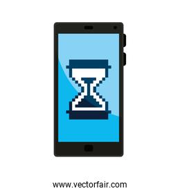 smartphone with hourglass icon