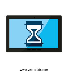 tablet with hourglass icon