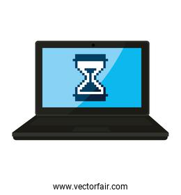 laptop with hourglass icon