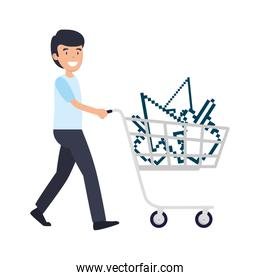 man with shopping cart and arrows mouse pointers