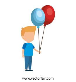 cute little boy with balloons helium