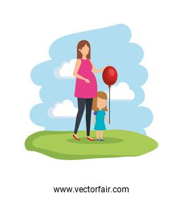 faceless woman pregnancy with daughter and balloon helium