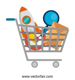 shopping cart with business icons