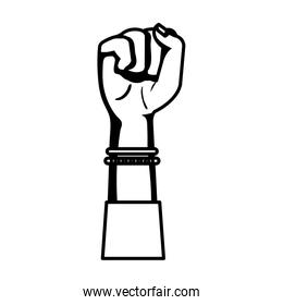 hand in fight signal isolated icon