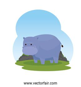 purple african hippo in the savannah character