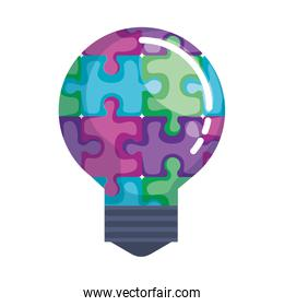 bulb light with puzzle pieces