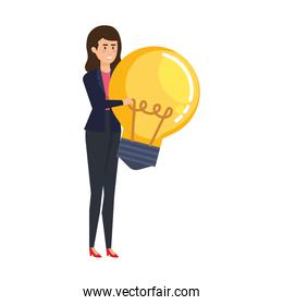 elegant businesswoman lifting bulb