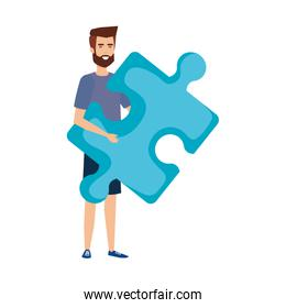 casual businessman lifting puzzle piece