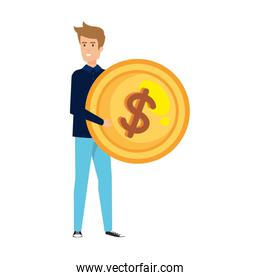 casual businessman lifting coin money