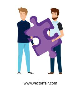 young businessmen lifting puzzle game piece