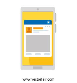 smartphone with webpage template