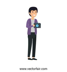 young man with camera photographic