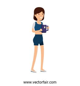 young woman with coffee cup character