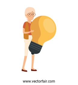 old woman with bulb