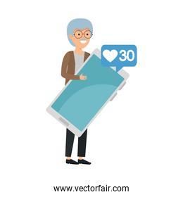 old man with speech bubble and smartphone