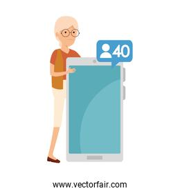 old woman with smartphone and speech bubble