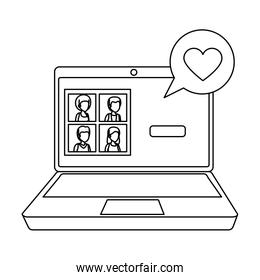 laptop with community and speech bubble love
