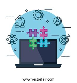 laptop with puzzle pieces and business set icons