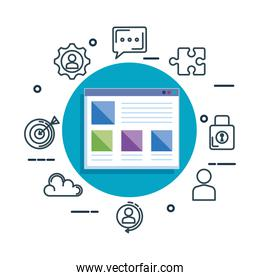 template webpage with business icons