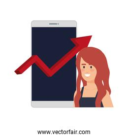 woman with smartphone and statistics arrow
