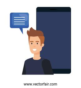 young man with smartphone and speech bubble
