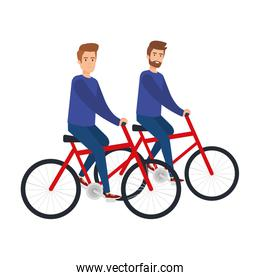 young couple men in bikes