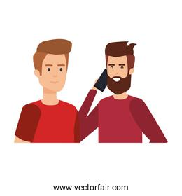 young and casual couple men with smartphone
