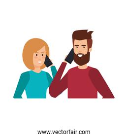 young couple with smartphone avatars characters