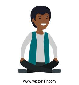 young black man with lotus position