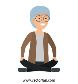 old man with lotus position
