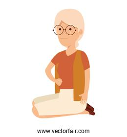 old woman in lotus position character
