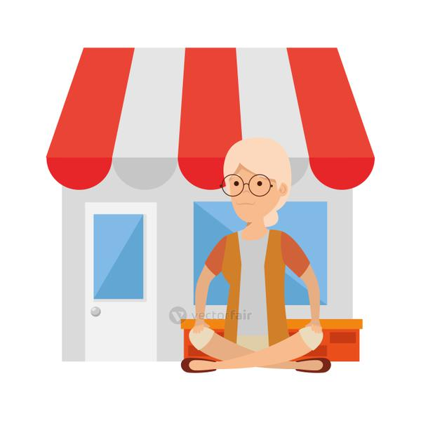 old woman in lotus position with store building