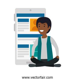 young black man in lotus position with smartphone