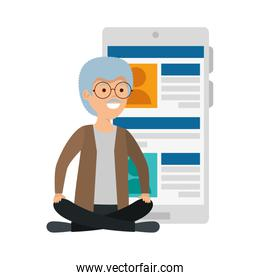 old man in lotus position with smartphone